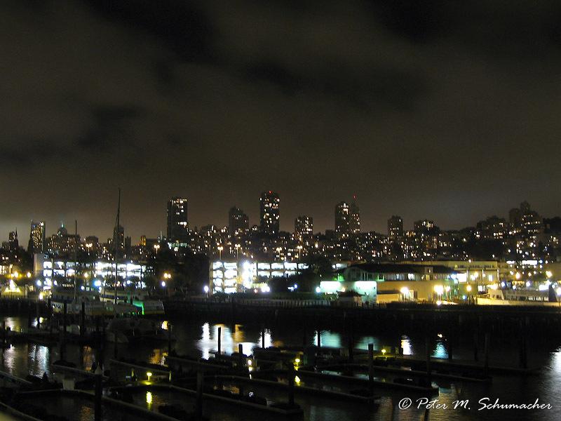 die sea lions am Pier 39 kommen auch nachts nicht zur Ruhe