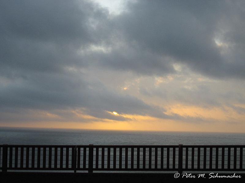 Sonnernuntergang auf der Golden Gate Bridge