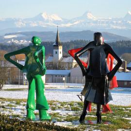 Kunst in Kirchlindach - Strassenleute (die Kirche bleibt im Dorf)