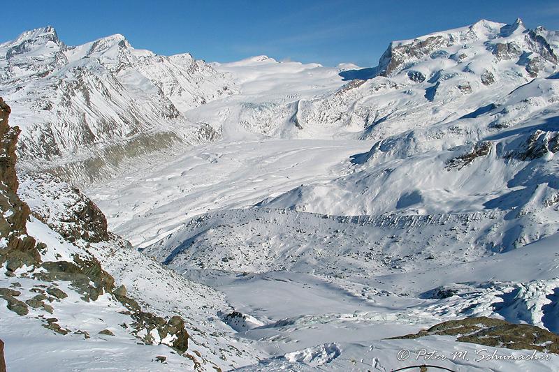 Monte Rosa (4634 m, Dufourspitze) mit Gornergletscher